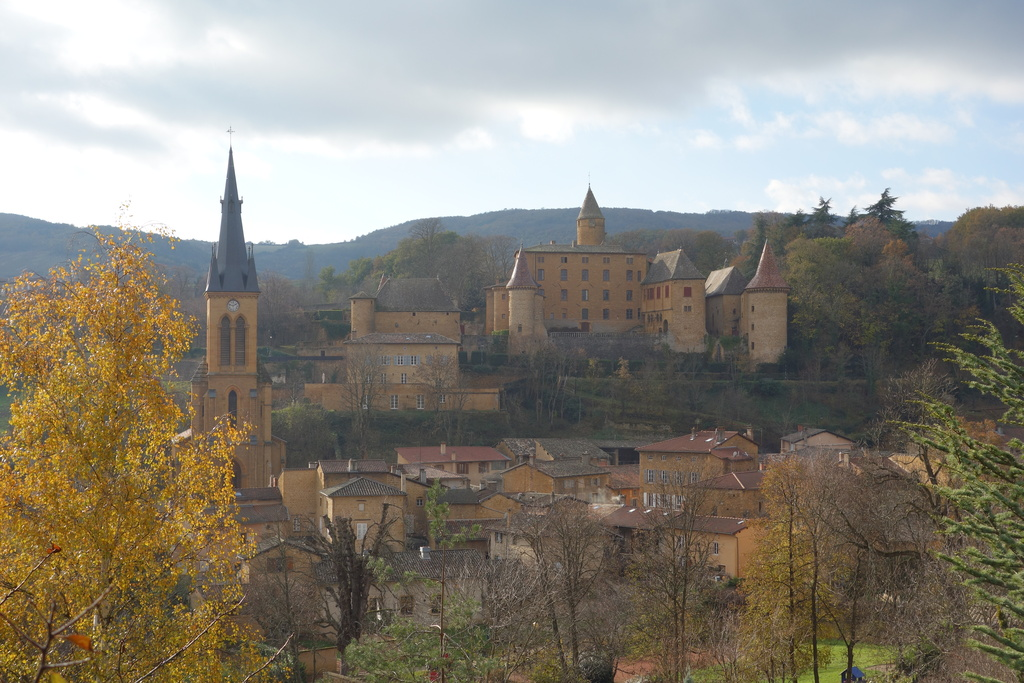 The village of Jarnioux, seen from a footpath, 9 km away