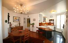 The dining room and the kitchen