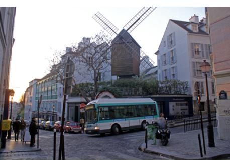 The moulin de la Galette, rue Lepic and the bus that you will take across the Butte Montmartre. This mill is 5mn walk from home.