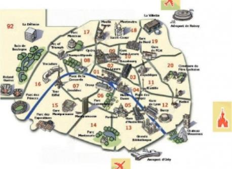 "Paris ""intra muros"", its 20 districts (arrondissements) with its main monuments and centers of interest. We live in the 18th ..."