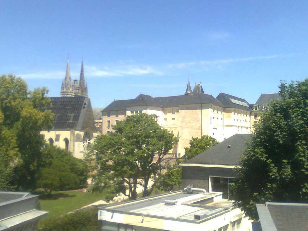 view from the apartment on garden and historical buildings