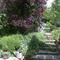 Escalier d'accès au jardin depuis la terrasse.