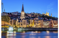 "View of Lyon from the riverside of ""La Saône"""
