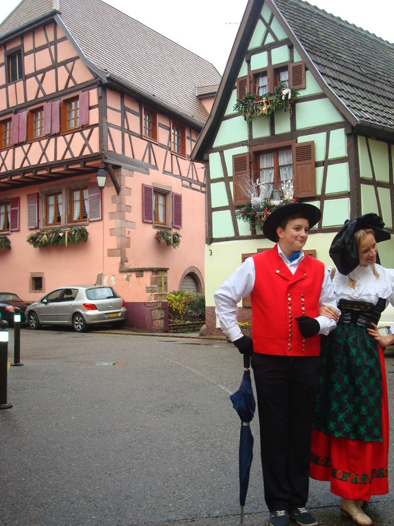 Typical houses and traditional costume of Alsace region