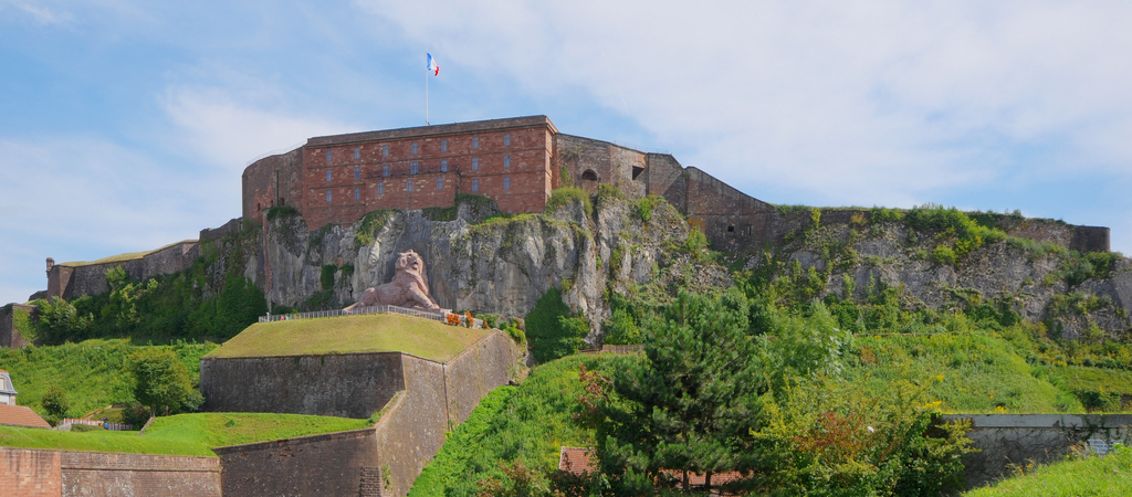 Belfort's old Castle from Vauban and Lion statue from Bartholdi.