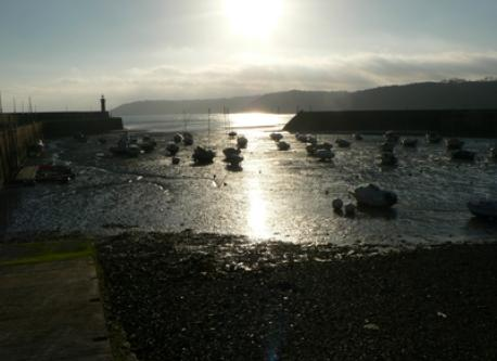 Binic harbour at low tide