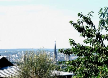 the view of Rouen (we can see the Rouen Cathedral)