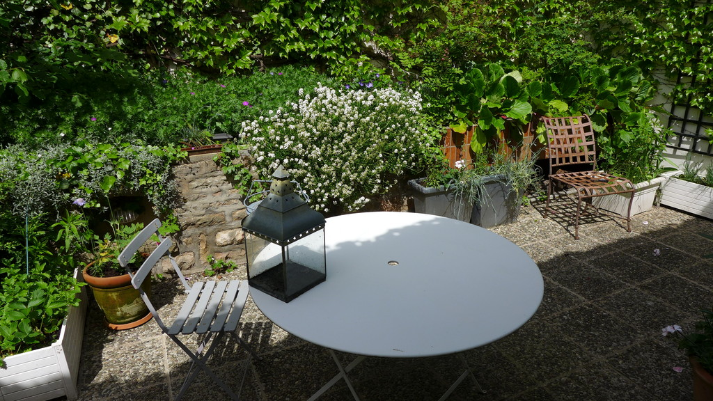 The paved area for meals outdoors.