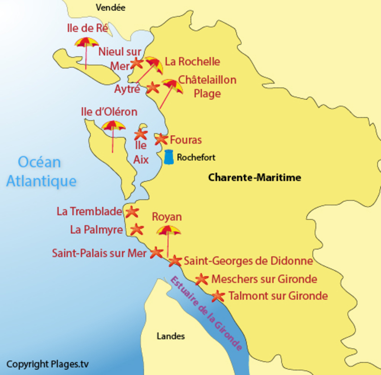 main beaches of Charente-Maritime