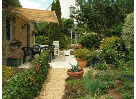 very sunny  terrace near the garden