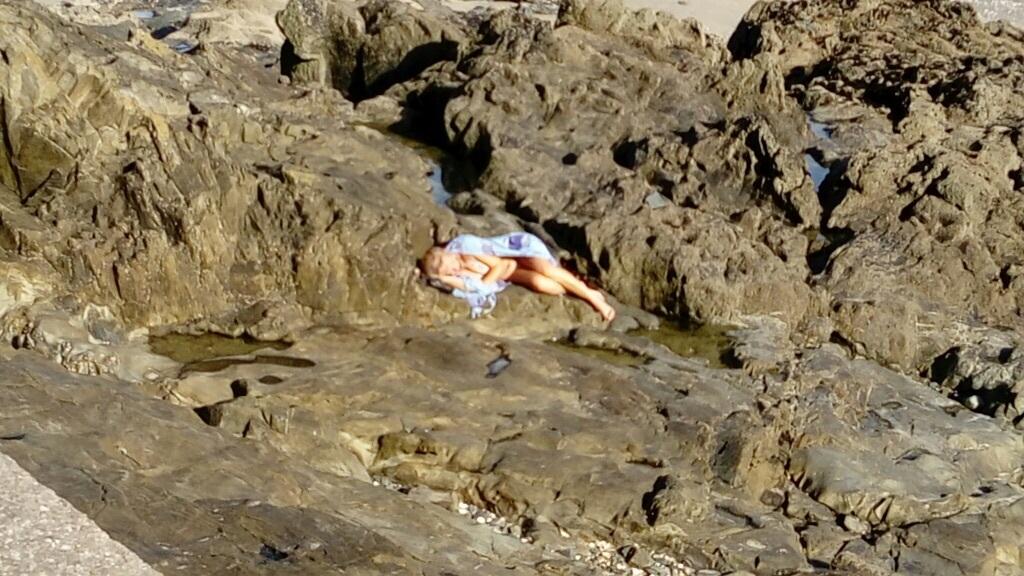 vue imprenable ;vous me croyez oui ou non !!! sirène en repos intellectuel sur la plage de l'anse aux moines         moines