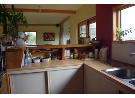 coin cuisine avec la perspective sur le séjour
