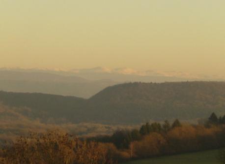vue sur les Monts Jura et le Mont Blanc