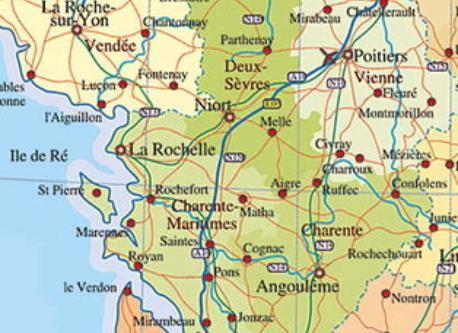 map of the region (Poitou-Charentes)