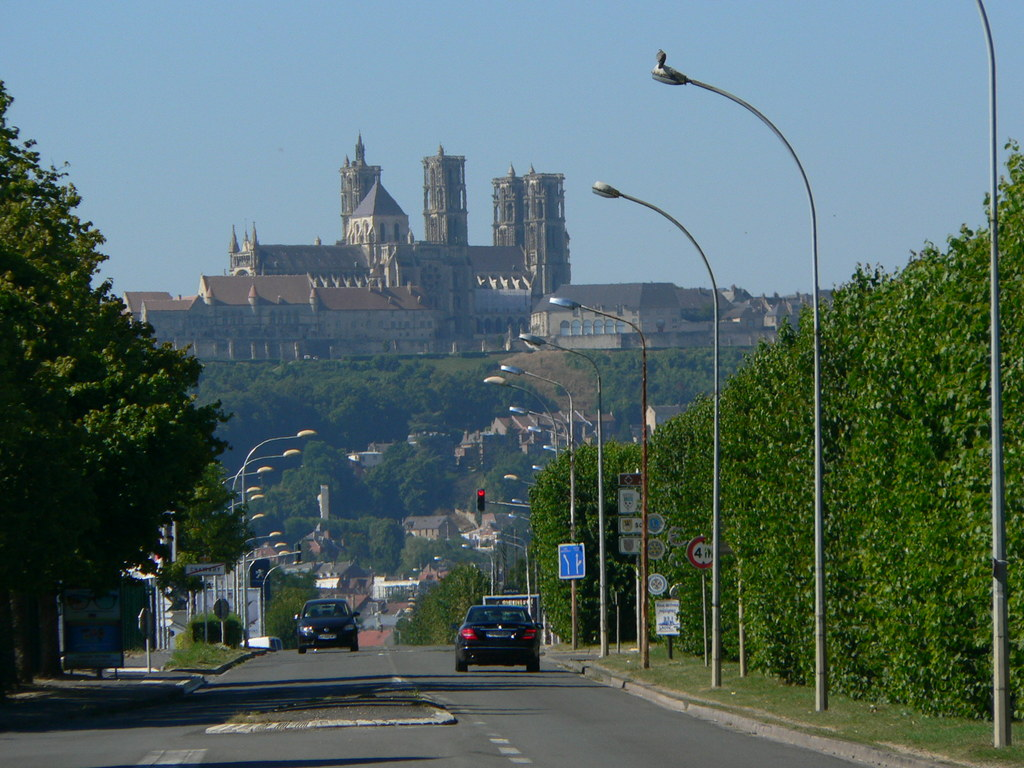 The Cathedral of the medieval town of Laon photographed from  Chambry
