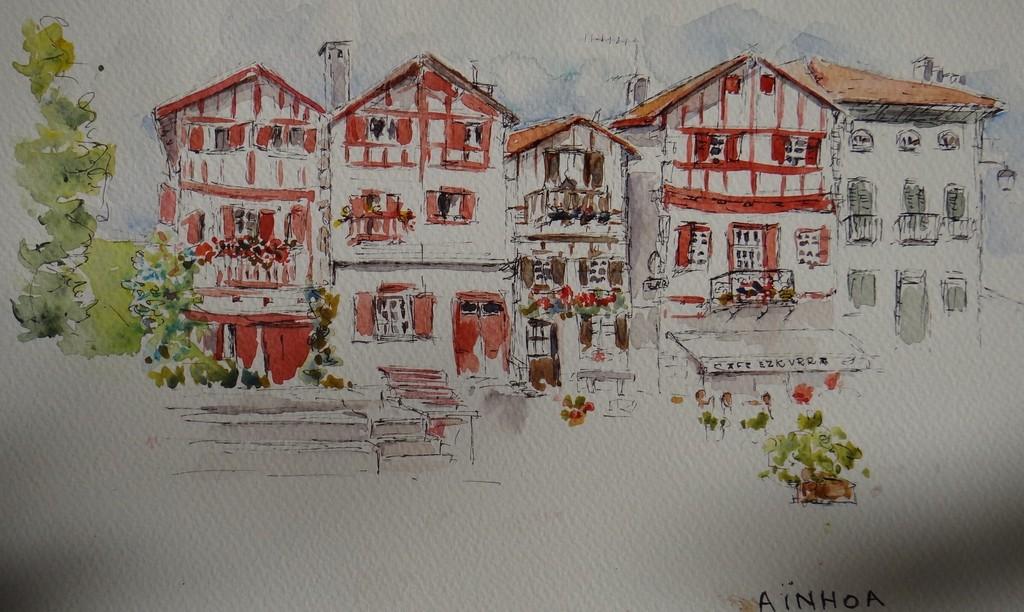 Watercolour of Aïnhoa: A typical basque village