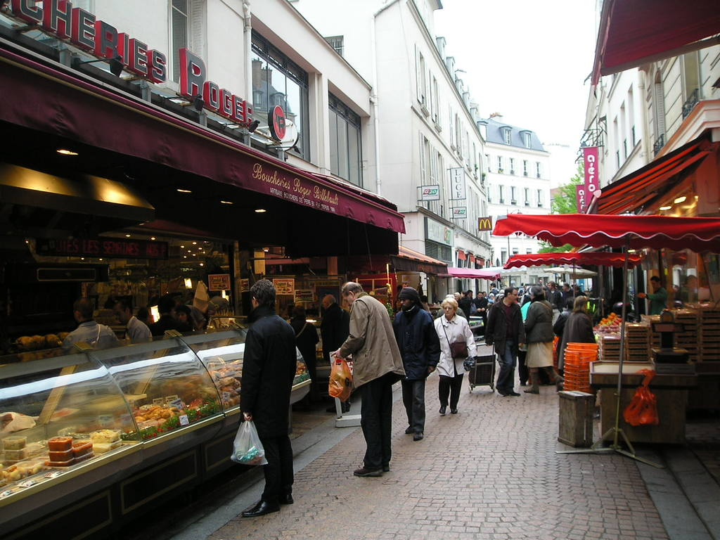 "the ""rue de l'Annonciation"" near our home where you can find all kind of cheese, meat and vegetables"