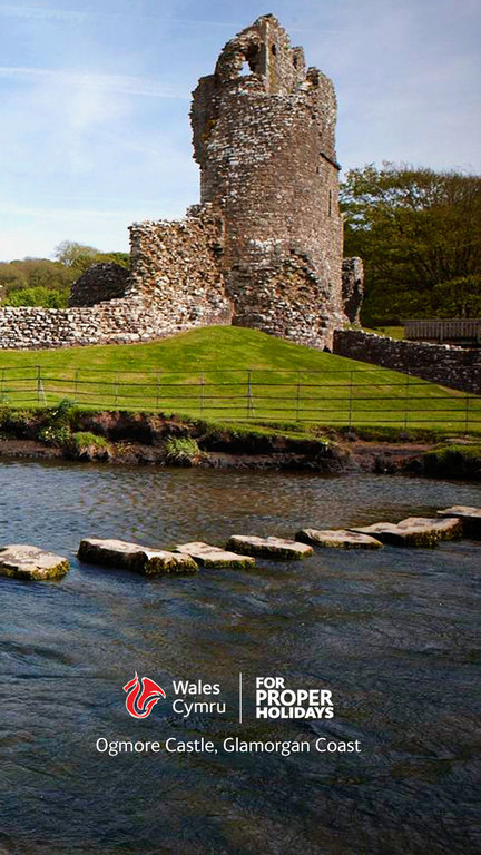 Ogmore Castle and stepping stones.