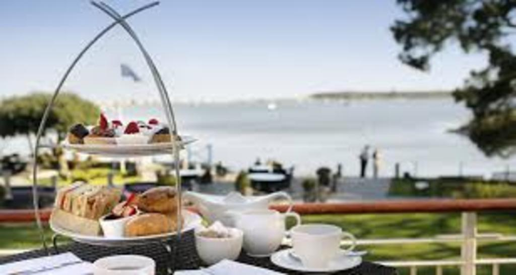 English cream tea looking out onto Hengistbury Head, 15 min drive