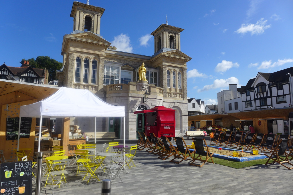 Kingston market Square- A  good place to get good bread and fruit and vegetables.