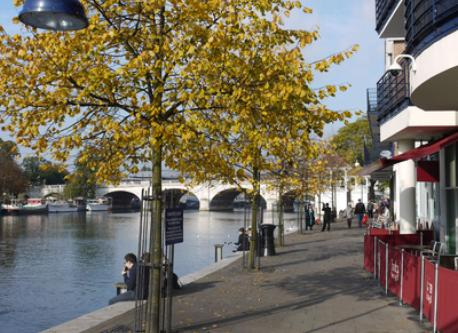 Kingston Riverside. Take a stroll to find a lovely restaurant.