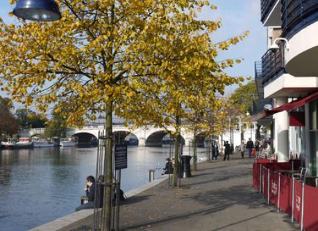 Kingston Riverside. Take a stroll to find a lovely restaurant.