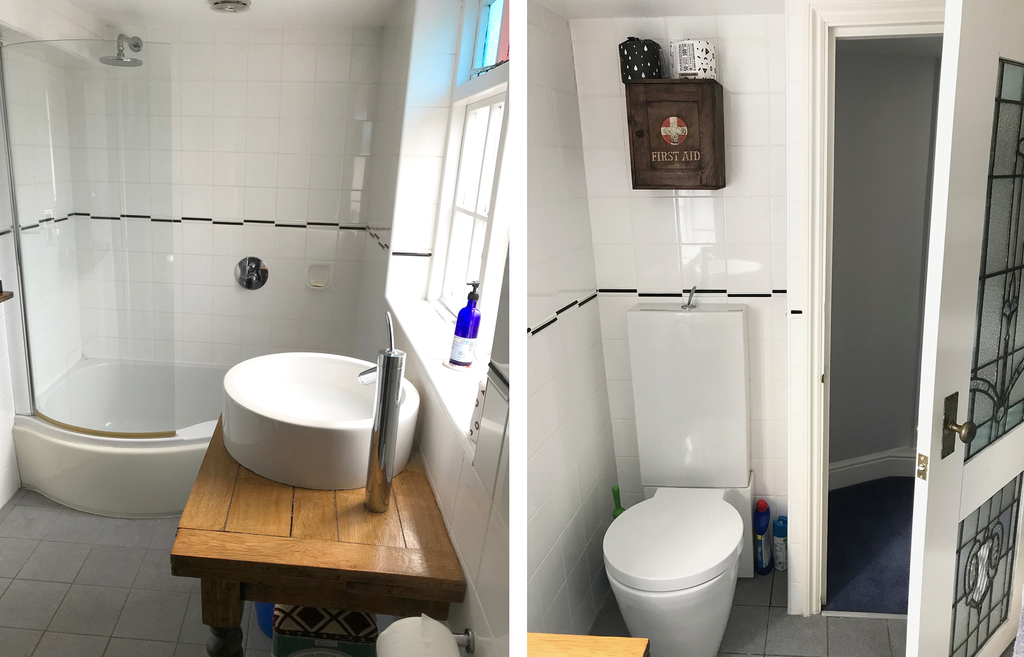 Second Bathroom with bath and shower.