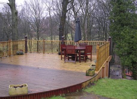 deck overlooking wood