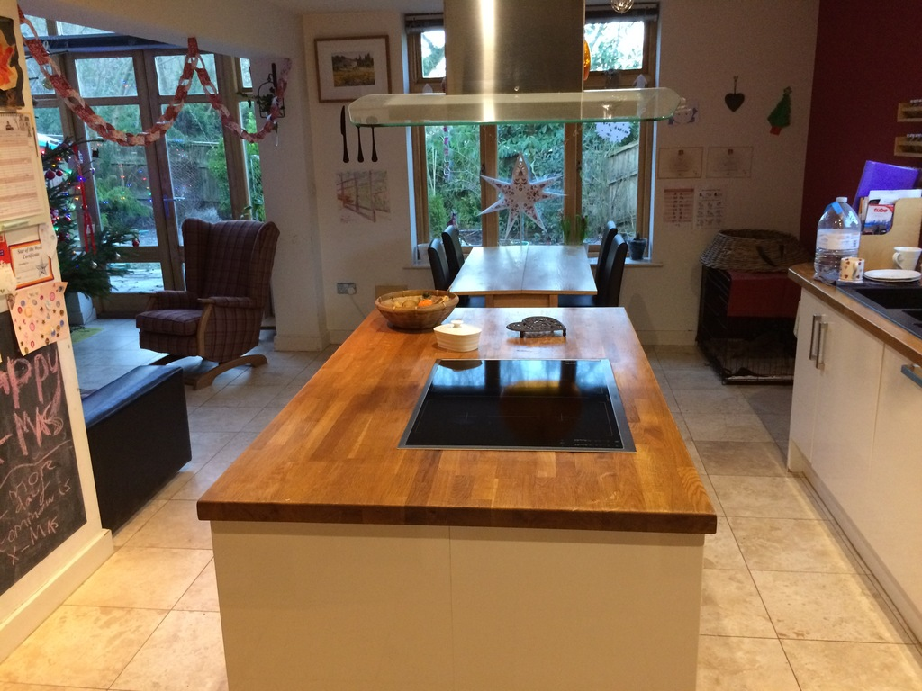 Large L shaped kitchen and living space