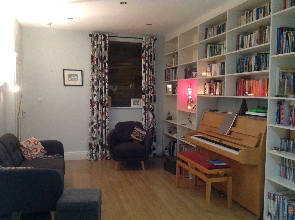 Open plan lounge with our piano