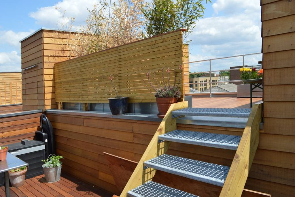 split level Roof terrace with views over London