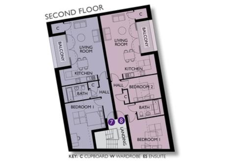 Floorplan of Flat 8.
