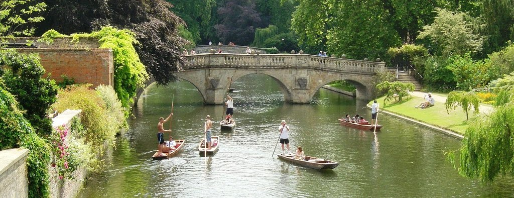 The beautiful river Cam & punts in world famous Cambridge