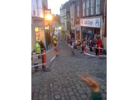 "The ""cobble wobble"" cycle race, Stoney Street"