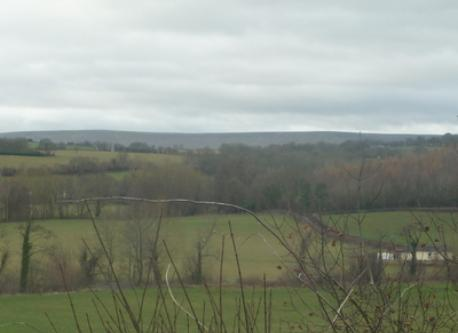 View from the bedroom window across to the Black Mountains