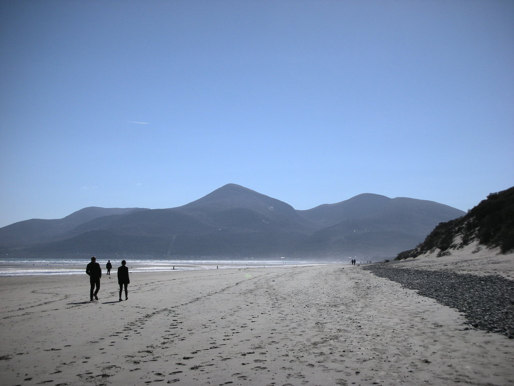 Murlough Nature Reserve with the Mourne mountains behind