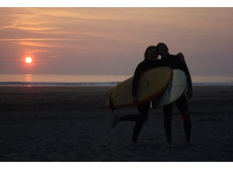 Misa and I after a sunset surf at Saunton Beach which is 2 mins from our house