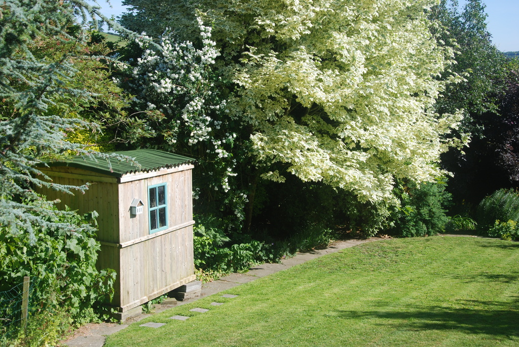 Shepherd's hut in garden