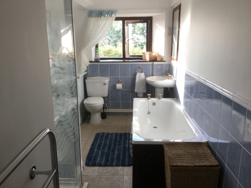 Bathroom with bath, shower, washing machine, tumble dryer