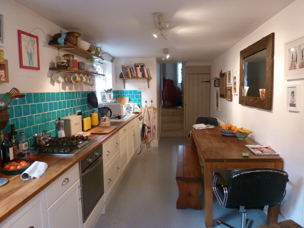 Kitchen diner with dining table that seats 8.