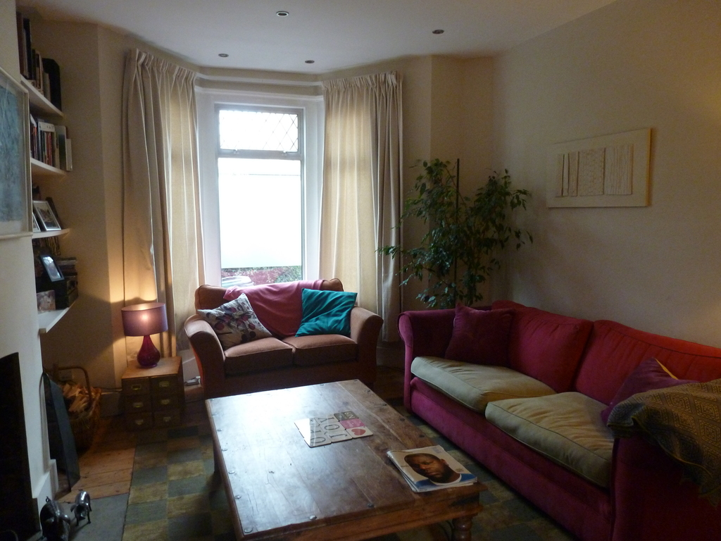 Front room with two comfortable sofas.