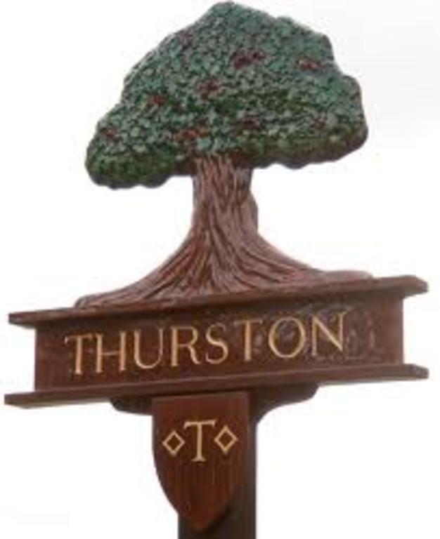 Village sign  topped with the Thedwastre Oak, the symbol of the old Thedwastre Hundred whose elders were reputed to have met ...
