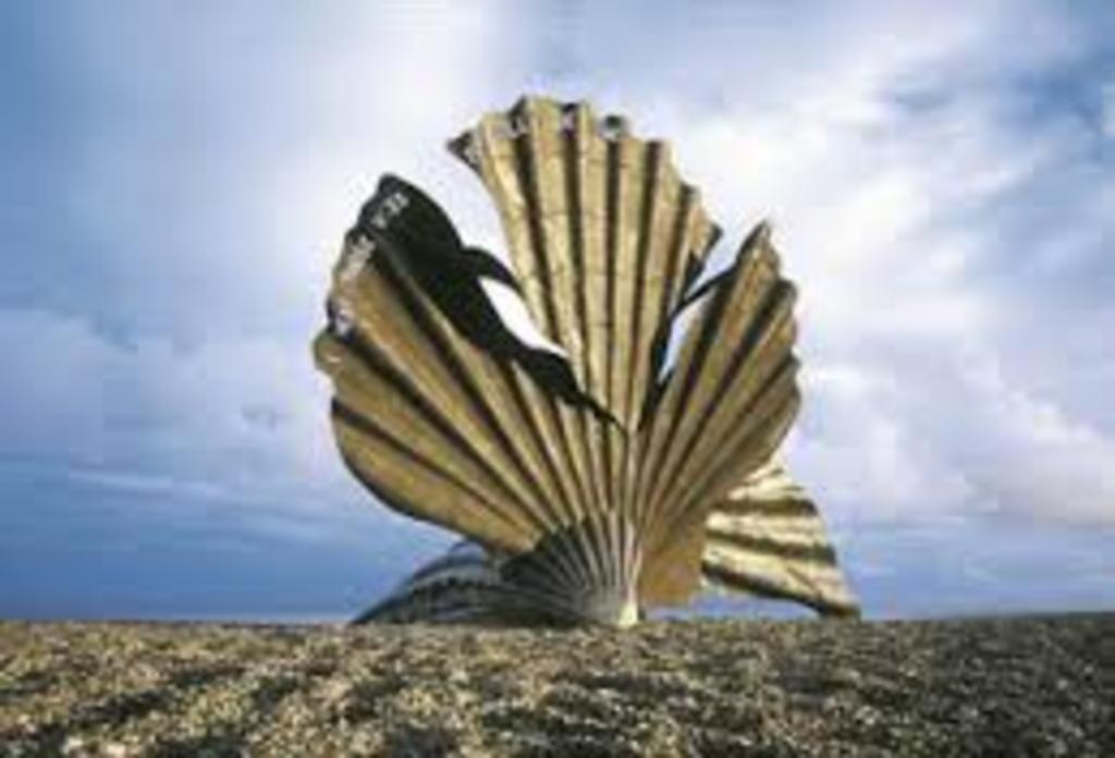 Sculpture by artist Maggi Hambling on the beach at Aldeburgh  Suffolk