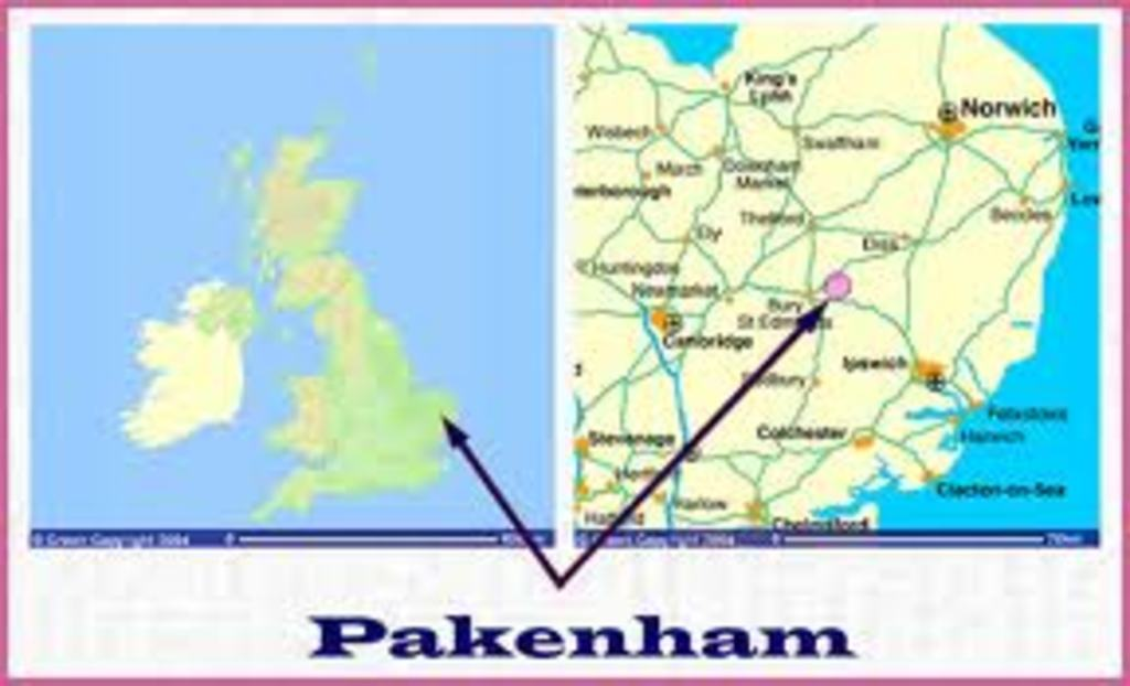 Pakenham -Suffolk (2 miles) is unique in being the only village in England with two working mills, a water mill and a windmill.