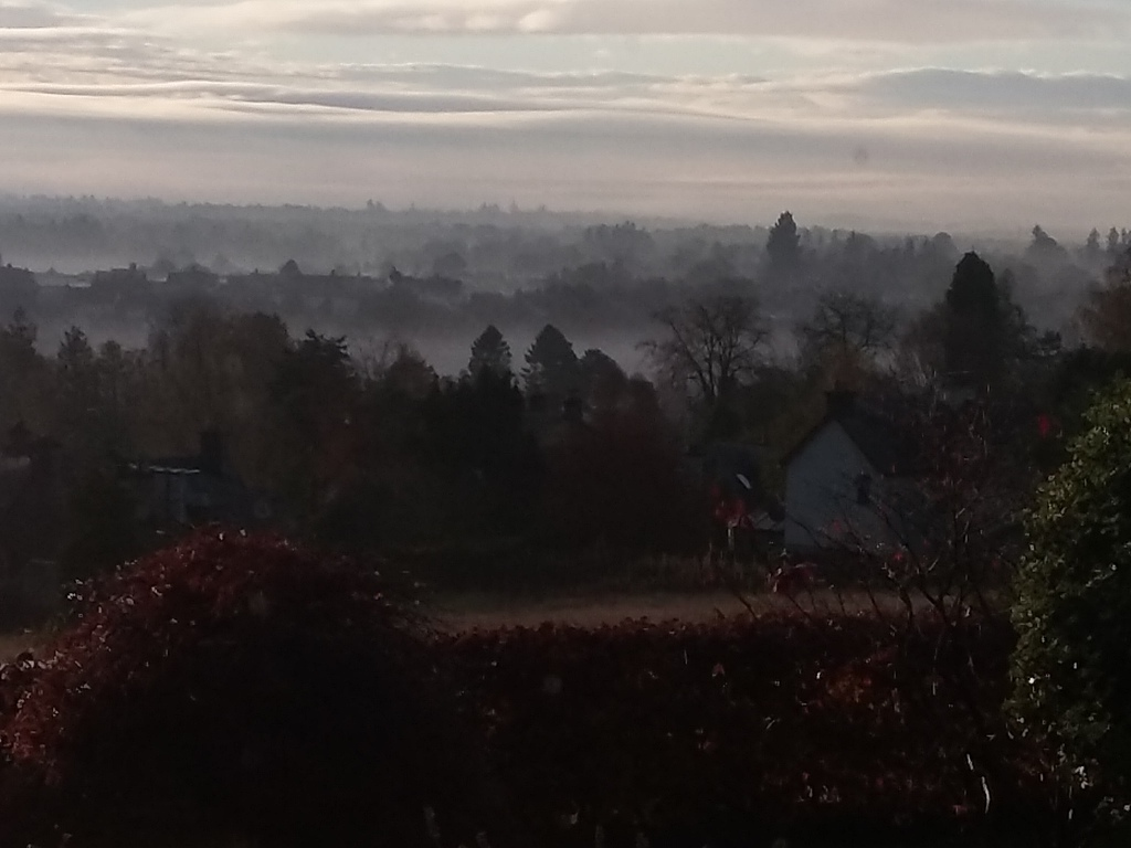 View from house on a misty morning