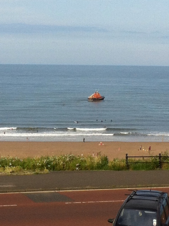 The view of the sea (and the local lifeboat) from our bedroom window.