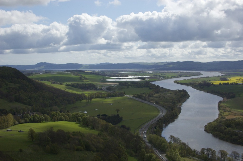 The silvery River Tay from nearby Kinnoull Hill woodland park