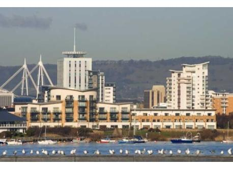 Cardiff City, taken from Cardiff Bay