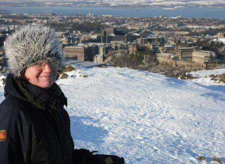Carol on Calton Hill Edinburgh