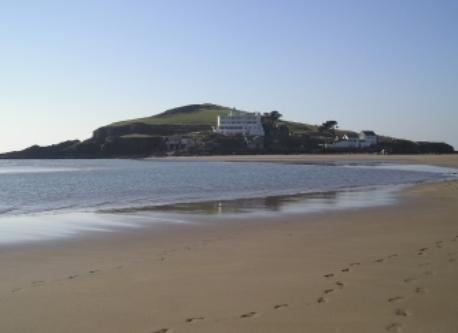 Bigbury beach and Burgh island, 40 minutes away.